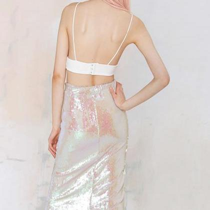 High Waist Metallic Pencil Skirt