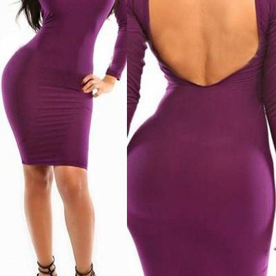 Fashion O Neck Long Sleeves Purple ..