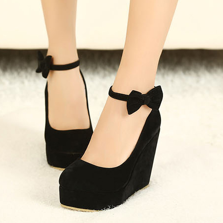 fashion round closed toe super high wedges black suede