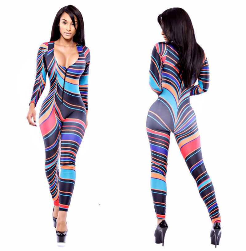 New Girl Zipper Stretch Bodycon Party Rompers Jumpsuits Bodysuit