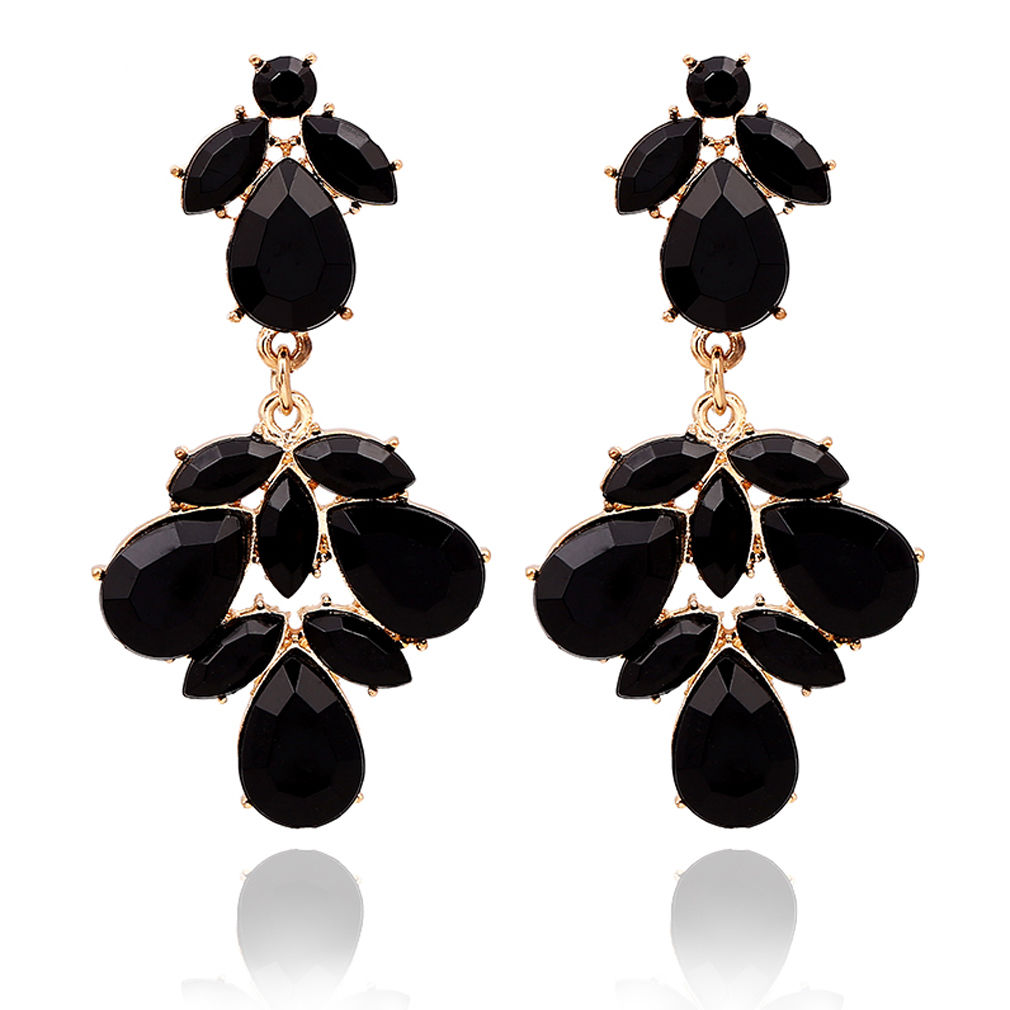 Charms Black Teardrop Gemstone Crystal Dangle Gold Tone Stud Earring Party Hot