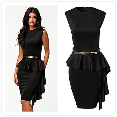 Black Sleeveless Peplum Short Guest Wedding Dress With Metallic Gold