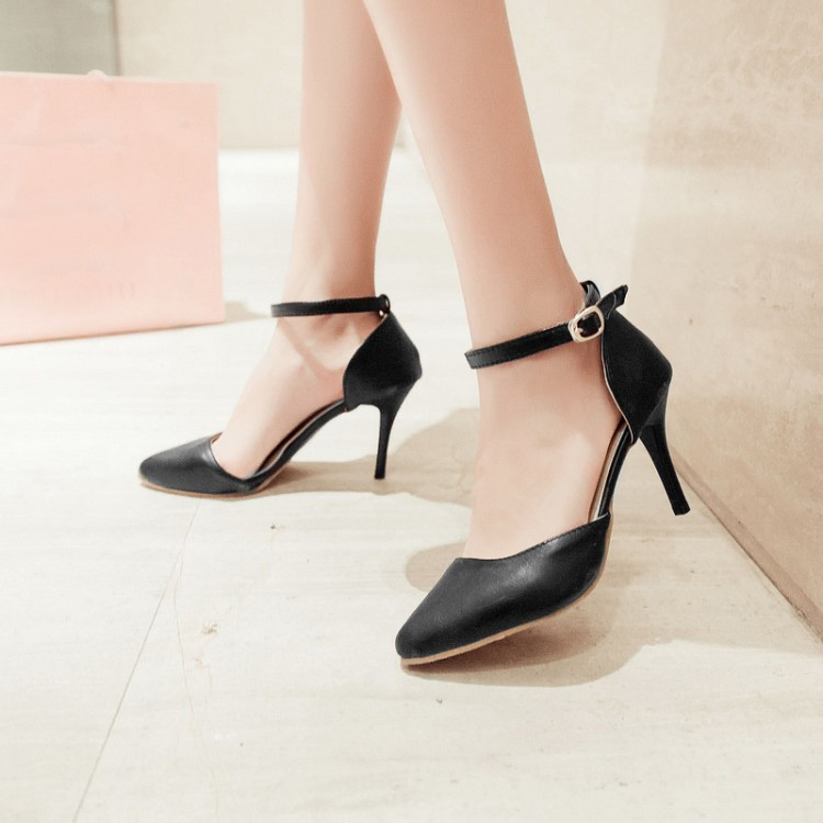 a161982c48 Fashion Pointed Toe Closed Stiletto High Heel Ankle Strap Black PU Pumps