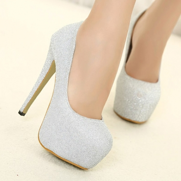 Fashion Round Closed Toe Flattery Stiletto High Heels Sliver ...