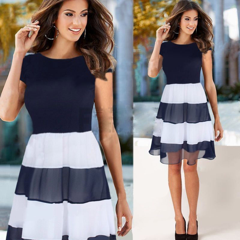 2015 Fashion Women Patchwork Summer Chiffon Striped Casual ...