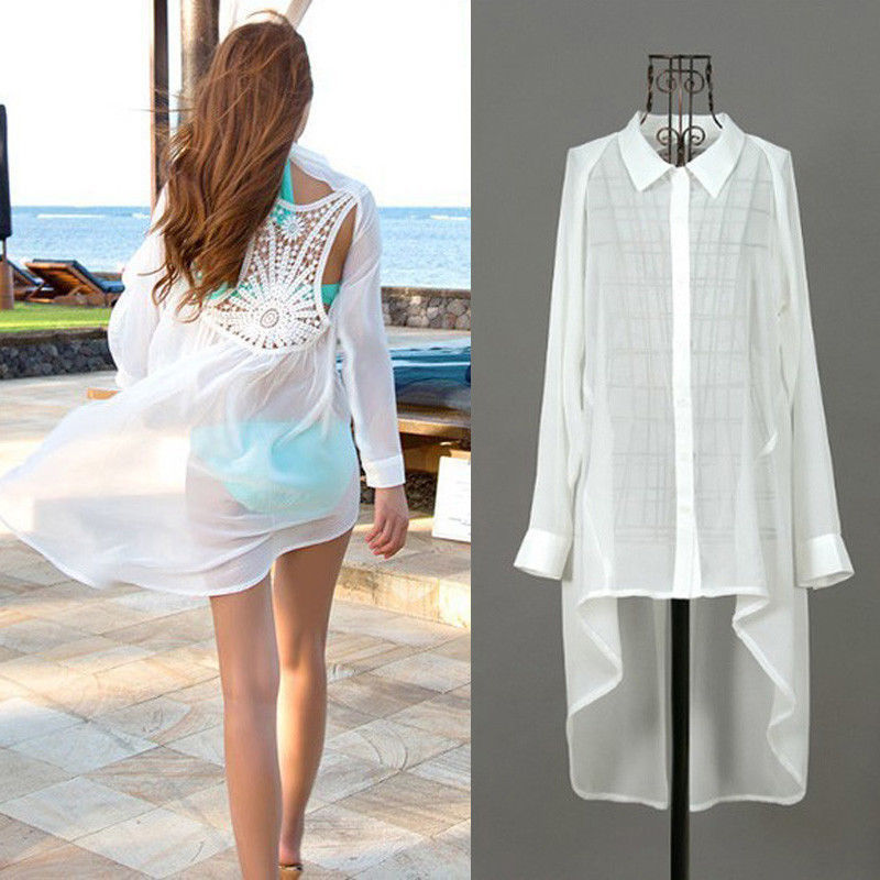 4742dada25 Women Summer Sexy Lace Floral Swimwear Bikini Cover Up Beach Long Shirt  Dress