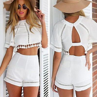 Summer Women Clothing Set 2 Piece Outfit White Crop Top Blouse ... 63ab7c90a