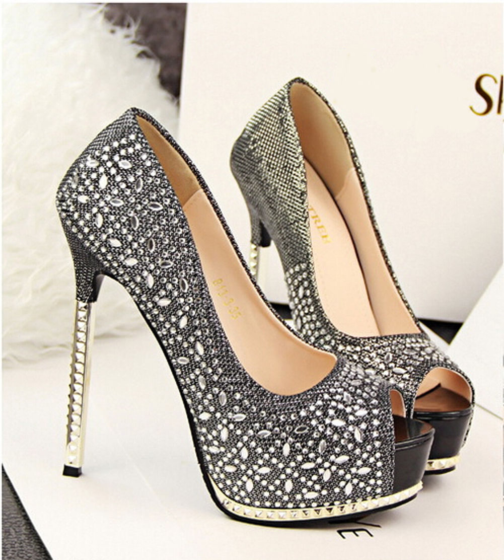 3cd7b50c43d1 Sexy Women Heels Bling Crystal Rhinestone Platform High Heel Party Wedding  Shoes on Luulla