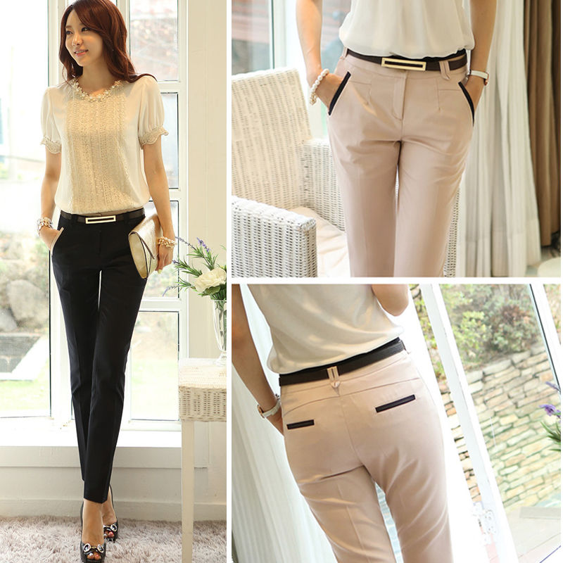 Chic Women Slim Fit Skinny Formal OL Pencil Pants Business Casual Long Trousers
