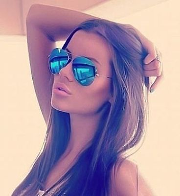 Blue Mirror Aviator Sunglasses Silver Frame Hot Famous Cool