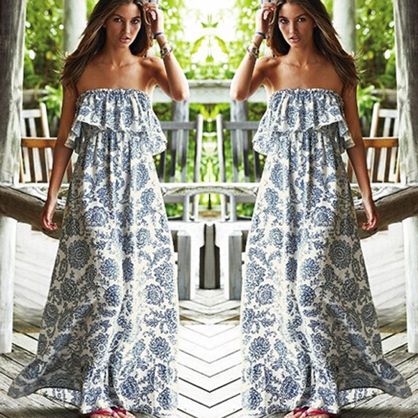 e00684849c6 Summer Women BOHO Bandeau Cocktail Evening Party Long Maxi Beach Dress  Sundress