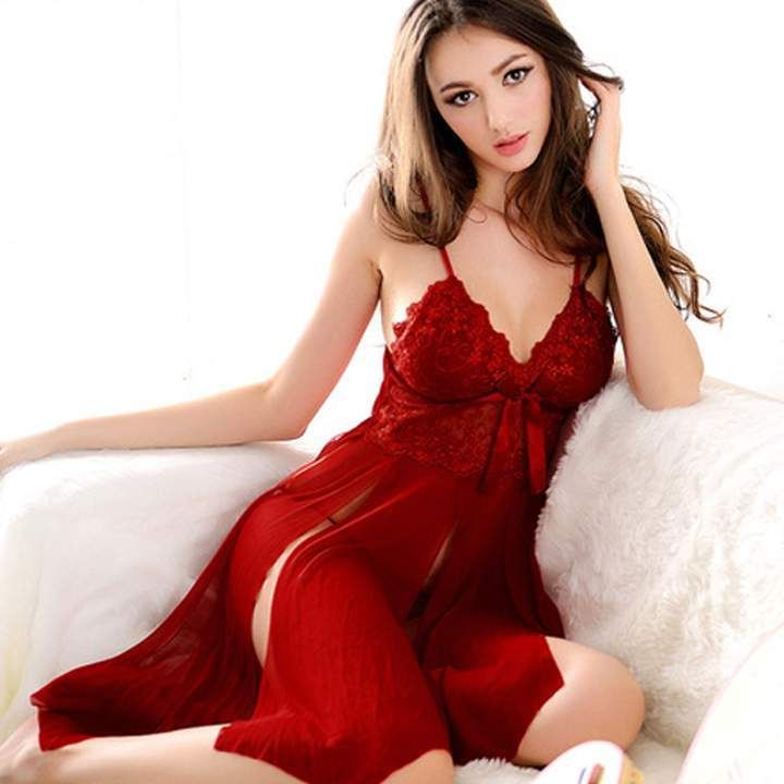 02d9c1ad02f Sexy Lingerie NightDress Red Satin Lace Ladies Cleavage Sleepwear Baby Doll