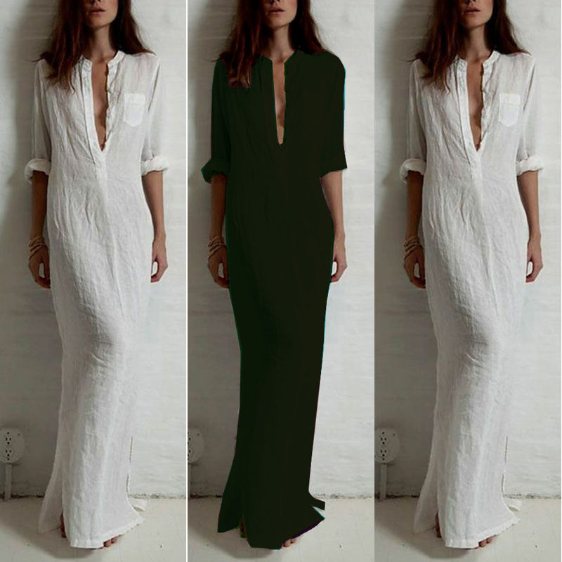 3214007aa4 Women Fashion Cotton Linen Split Long Sleeve Party Cocktail Long Maxi Dress