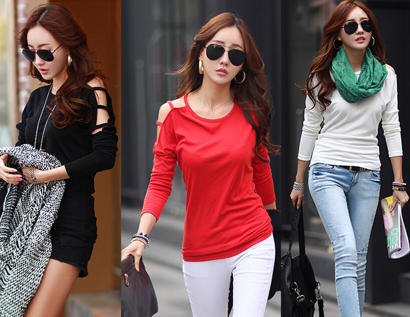 a0e8f70849 Fashion Womens Long Sleeve Base Shirt Casual Blouse Loose Cotton Tops T  Shirt