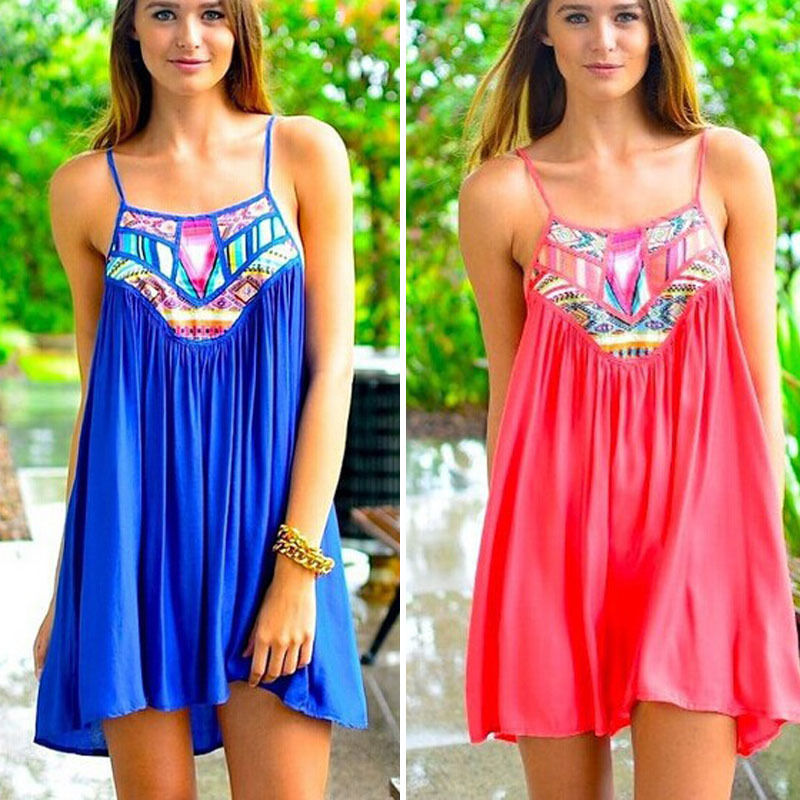 3b64ac2b5dcd Sexy Women s Summer Casual Sleeveless Evening Party Beach Dress Short Mini  Dress