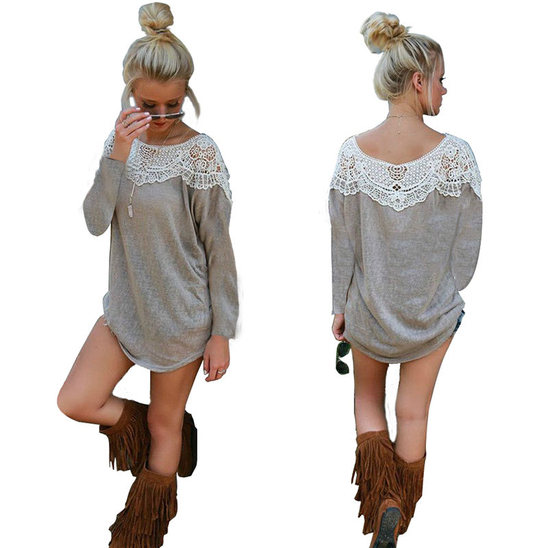 2f040699d8 women long Sleeve lace BLOUSE loose T Shirt Sweater Tops pullover Top Blouse  new