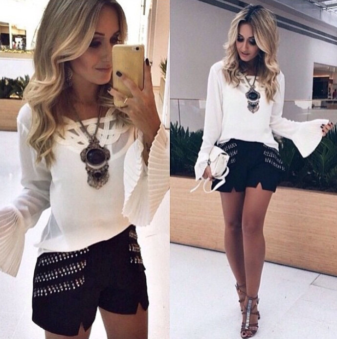 57bad30d4ed95 2015 NEW Women Lace Sexy Top Long Sleeve Shirt Summer Casual Blouse S-XL  Fashion