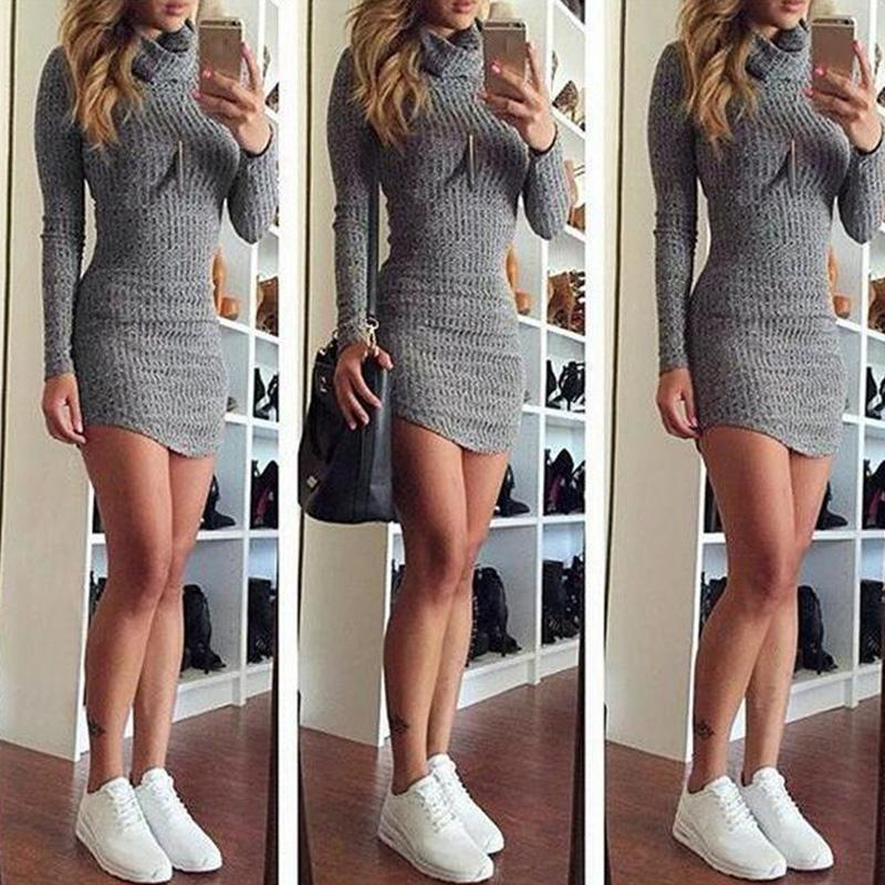 e8a4ea4bd35 Winter Clothes Women Long Sleeve Woolen Dresses High Neck Sweater US ...