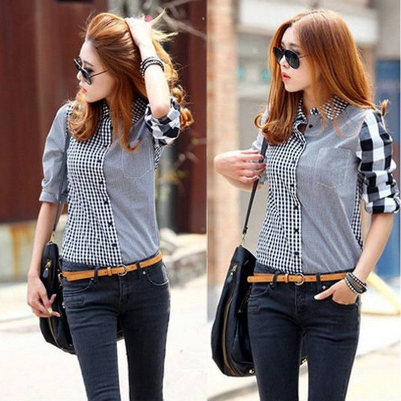 9e49594534 New Fashion Women s Loose Long Sleeve Chiffon Casual Blouse T-Shirt Tops  Blouse