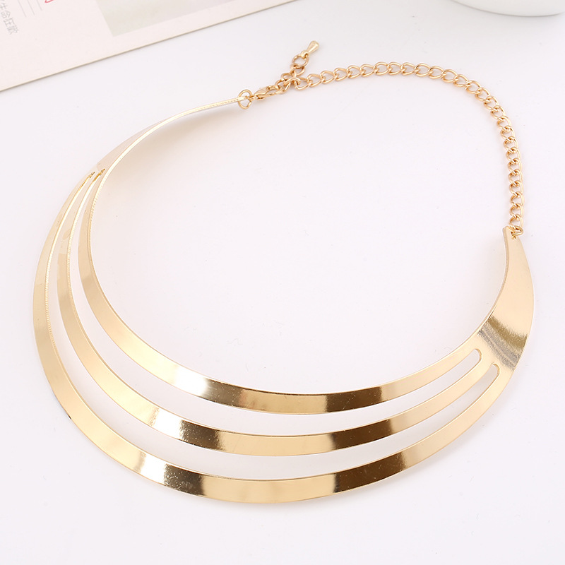 Fashion Multi -Layered Golden Metal Necklace