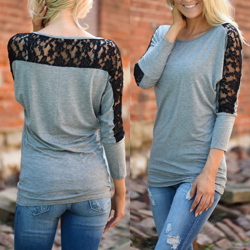 25ffa9dfe4 Fashion Women Long Sleeve Shirt Casual Lace Blouse Loose Cotton Tops T Shirt