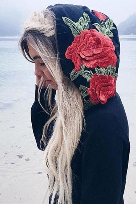 Floral Embroidered Hoodie Featuring Long Cuffed Sleeves