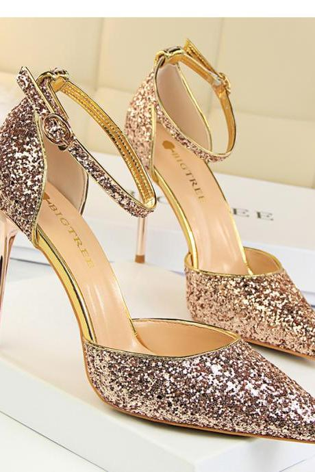 Glitter Pointed-Toe Ankle Strap High Heel Stilettos