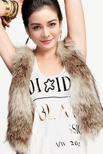 Autumn And Winter Fur Vest Fastener Satin Liner DL