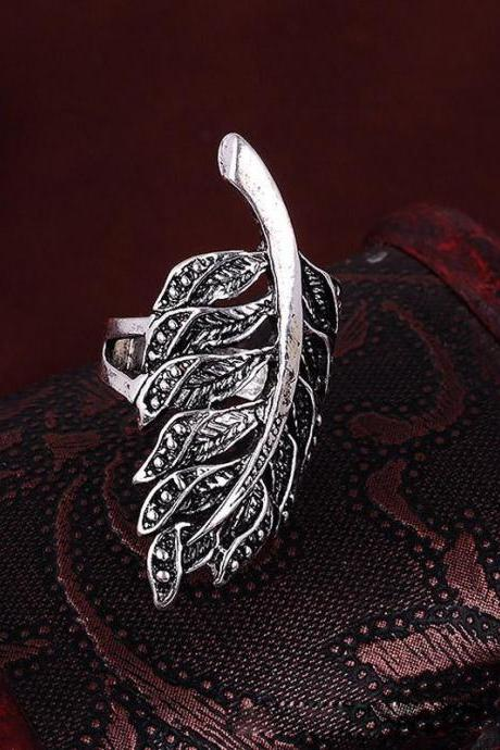 Vintage Women Men Jewelry Silver Big Leaf Finger Ring Statement Rings Size 8-11
