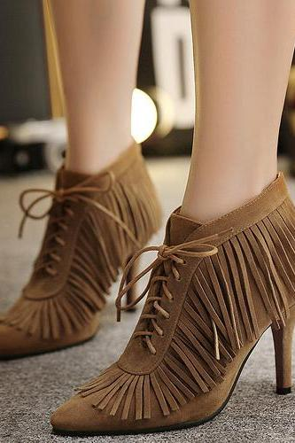 Fashion Pointed Toe Tassel Design Lace-up Stiletto Super High Heel Camel PU Ankle Martens Boots