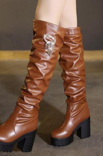 Winter Fashion Round Toe Slip-on Chunky Super High Heel Brown PU Over the Knee Martens Boots