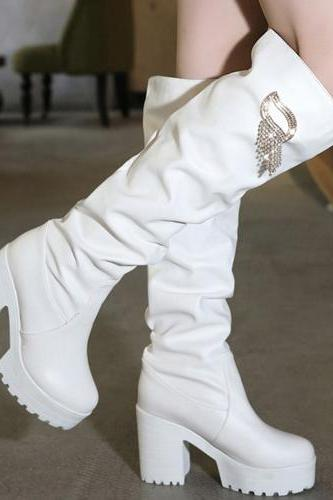 Winter Fashion Round Toe Slip-on Chunky Super High Heel White PU Over the Knee Martens Boots