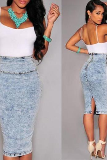 High Waist Washed Out Denim Pencil Skirt with a Back Slit