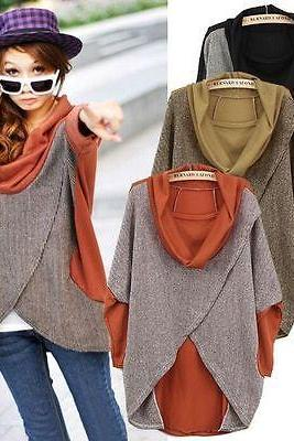 Fashion Women Winter Batwing Jumper Loose Pullover Sweater Shirt Top Coat Blouse