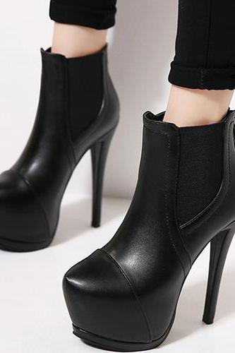 Winter Round Toe Zipper Desgin Stiletto Super High Black PU Ankle Martens Boots