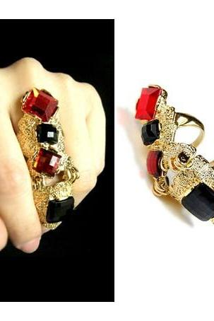 Fashion Women Jewelry Punk Lady Jewelry Gold Metal Joint Finger Ring Size 8/7