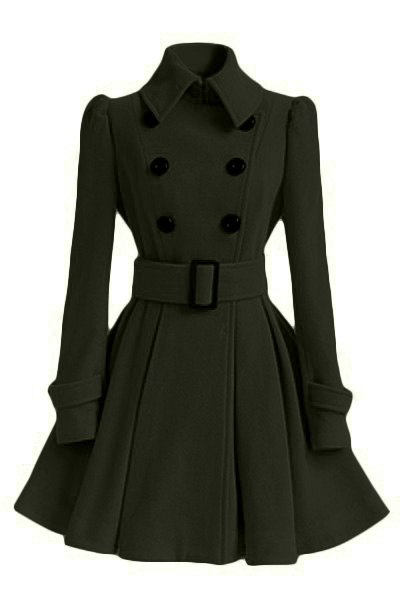 Fashion Turndown Collar Long Sleeves Double-breasted Asymmetrical Army Green Cotton Blend Sheath Trench Coat(with Buckle Belt)