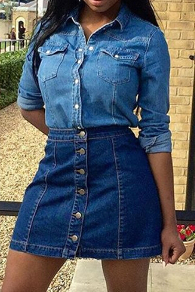 Fashion High Waist Single Breasted Blue Denim A Line Mini Skirt