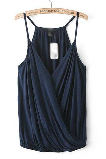 1b4ab3072237b1 Navy Blue Wrap V Neck Camisole Top ROS