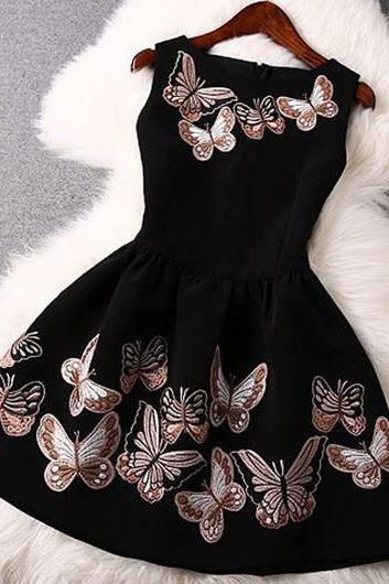 Sleeveless Butterfly Print A Line Dress ROS