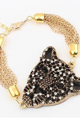 New Fashion Vintage Fashion Rock Punk Style Golden Leopard Head Chain Wristband Bracelet ROS