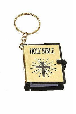 New Mini Christian Holy BIBLE Gold Cover Key Chain Ring Keychain Christian Jesus