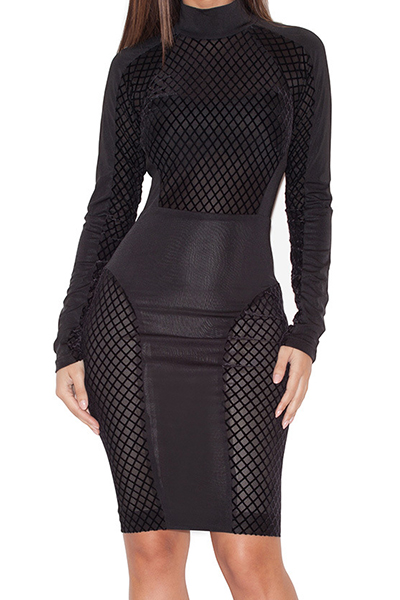 Sexy Turtleneck Long Sleeves Hook Flower Hollow-out Black Polyester Sheath Knee Length Dress FREE SHIPPING!