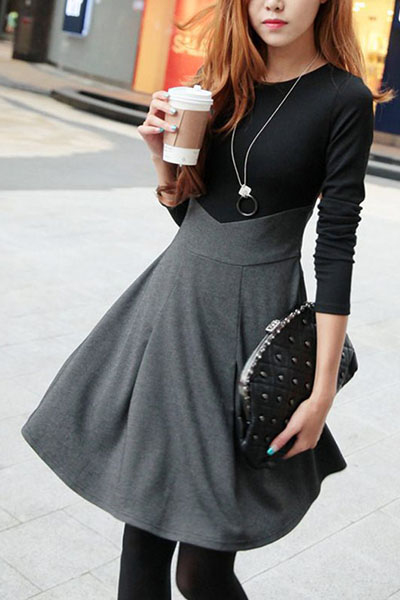 Trendy O Neck Long Sleeves Patchwork Grey Cotton Blend Mini Dress FREE SHIPPING!