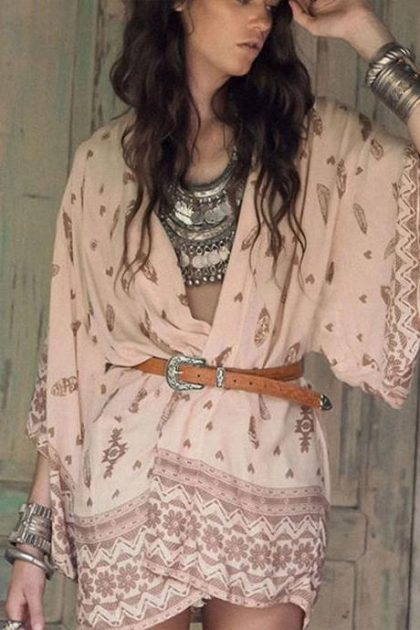 2016 Printed Casual Kimono With Belt boho women