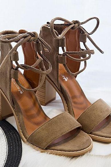 Brown Suede Lace-Up Sandals Featuring Block Heel