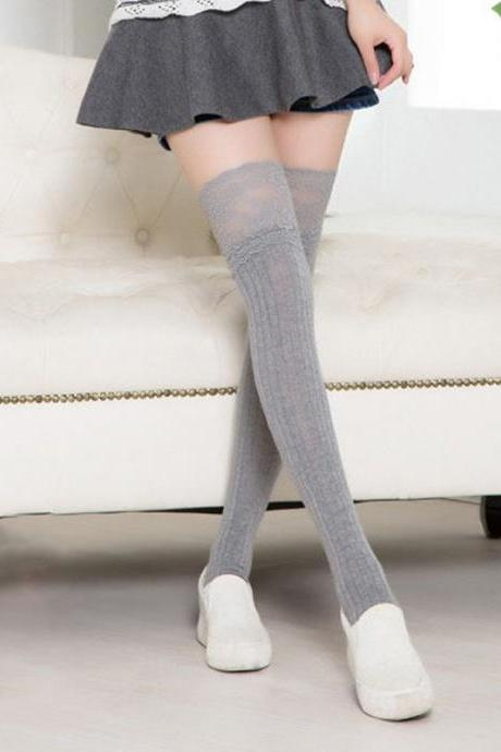 Lace Bow Side Knee High Lace Boot Socks