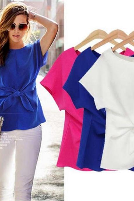 New Summer Womens Casual Chiffon Blouse Short Sleeve Shirt T-shirt Blouse Tops