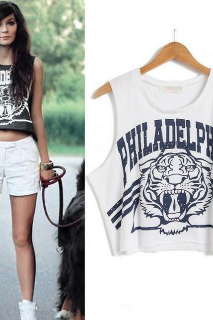 Hot Sale Fashion Graffiti Tiger Head Print Crop Top Sleeveless Tank Top Black White Letter Print Crop Tops Loose Women Tops