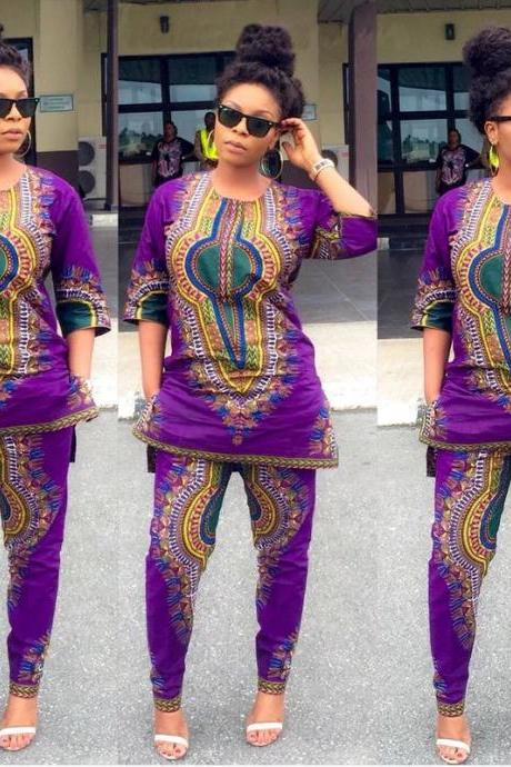 Traditional African Clothing Two Piece Set Women Dress+Pants